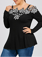Spaghetti Strap  Lace Plain  Long Sleeve Plus Size T-Shirts