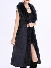 Faux Fur Collar  Slit Pocket  Plain  Sleeveless Waistcoat