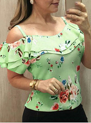 Polyester  Open Shoulder  Floral Printed  Short Sleeve Short Sleeve T-Shirts