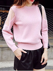 Round Neck  Patchwork See-Through  Plain  Long Sleeve Pullover