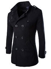 Band Collar Double Breasted Vented Plain Men Woolen Coat