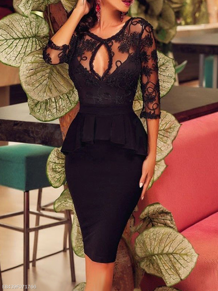 Sexy V-Neck Peplum See-Through Keyhole Plain Bodycon Dress