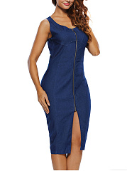 Scoop Neck Plain Denim Slit Zips Midi Bodycon Dress