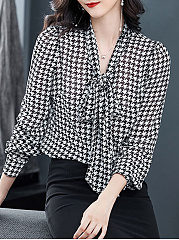 Autumn Spring  Women  Tie Collar  Houndstooth  Long Sleeve Blouses