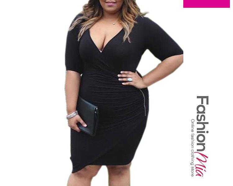 Image of Deep V-Neck Zips Plain Plus Size Bodycon Dresses