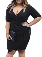 Deep V-Neck  Zips  Plain Plus Size Bodycon Dresses