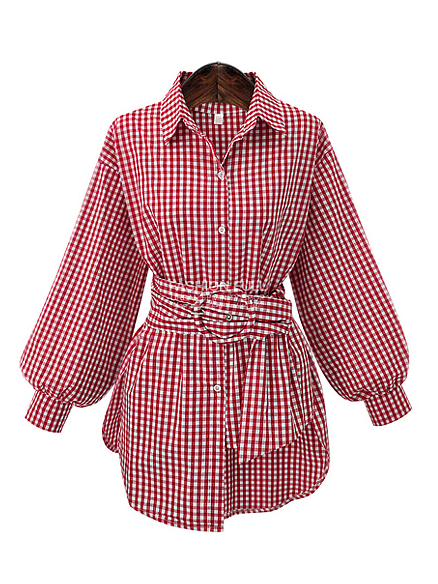 Red Plaid Puff Sleeve Oversized Blouse