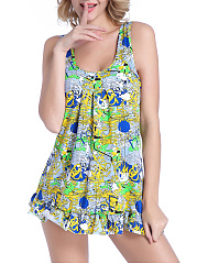 Abstract Print Skirted Ruffled Hem Deep V-Neck One Piece
