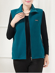 Lapel Pocket Plain Fleece Waistcoat