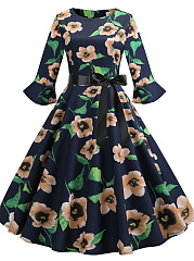 Round Neck  Bowknot  Floral Printed Skater Dress