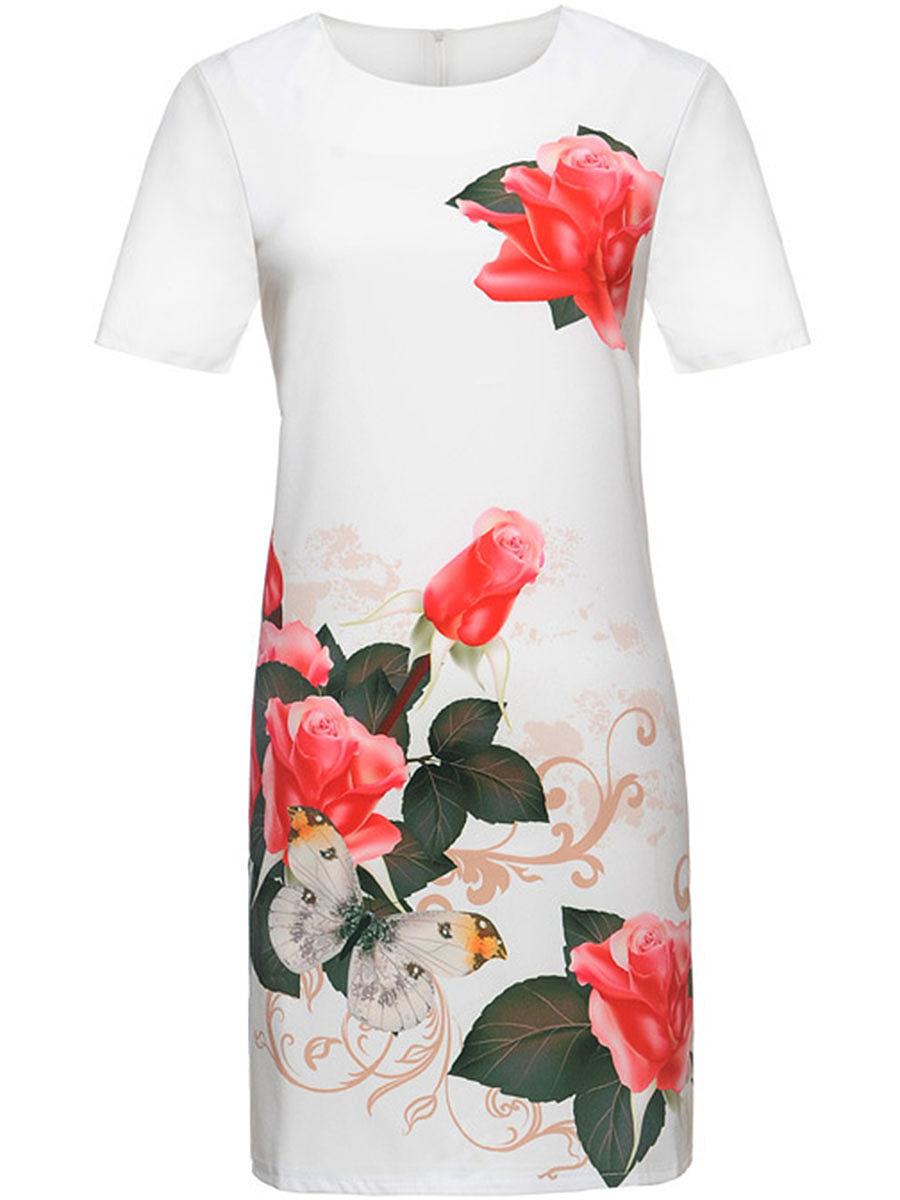 Floral Printed Short Sleeve Bodycon Dress