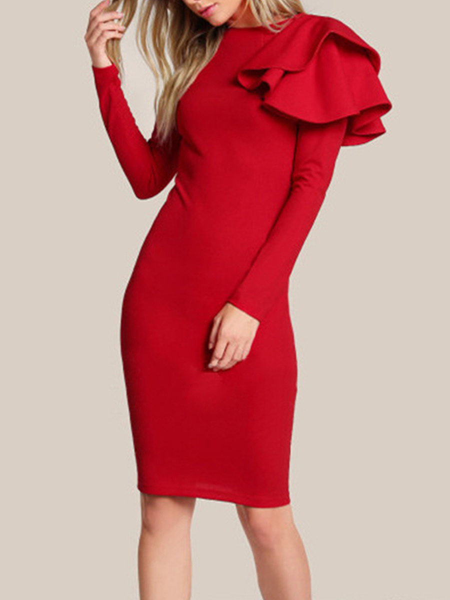 Crew Neck Flounce Plain Bodycon Dress