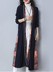 Lapel  Tribal Printed Trench Coat