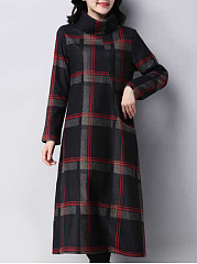 Cowl Neck  Plaid Oversized Maxi Dress