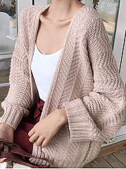 Plain  Batwing Sleeve  Long Sleeve Cardigans