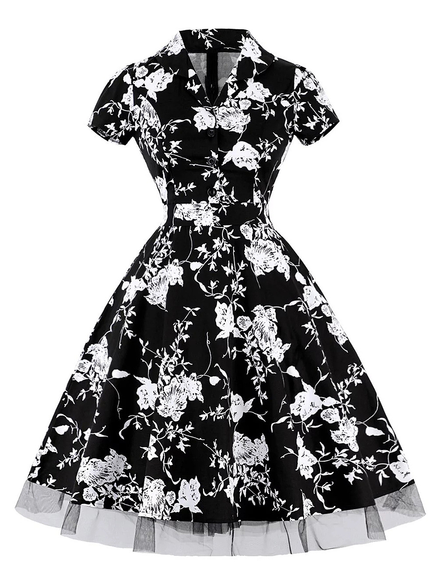 Vintage V-Neck Floral Printed Skater Dress