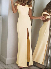 Off Shoulder High Slit Plain Evening Dress