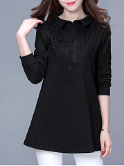 Decorative Lace Plain Long Sleeve T-Shirt