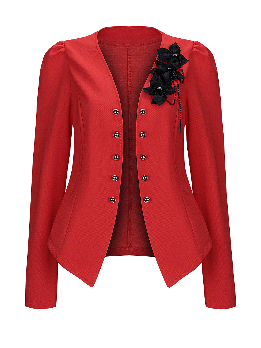Collarless Decorative Button Floral Puff Sleeve Blazer