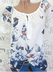 Polyester  Round Neck  Decorative Lace  Printed  Short Sleeve Blouse