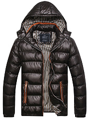 Hooded Quilted Striped Zips Pocket Men Padded Coat