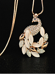 Rhinestone Peacock Shape Pendant Long Necklace