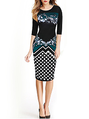 Round Neck  Abstract Print Bodycon Dress