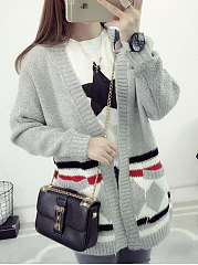 Collarless-Patch-Pocket-Floral-Long-Sleeve-Cardigans