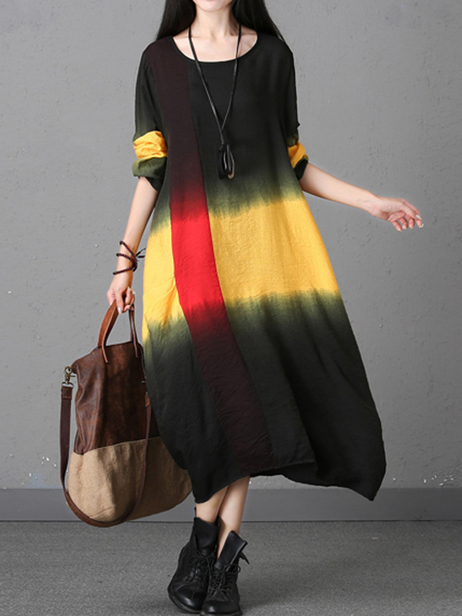 Gradient Color Block Round Neck Maxi Dress