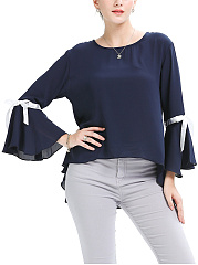 Hollow Out High-Low Chiffon Bell Sleeve T-Shirt