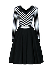 V-Neck Striped Long Sleeve Skater Dress
