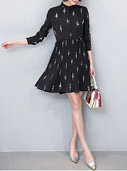 Band Collar Cartoon Printed Pleated Skater Dress