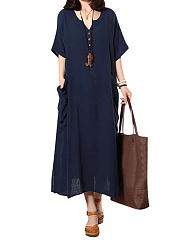 Split Neck  Patch Pocket  Plain Maxi Dress