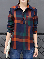 Plaid Polo Collar Patch Pocket Blouse