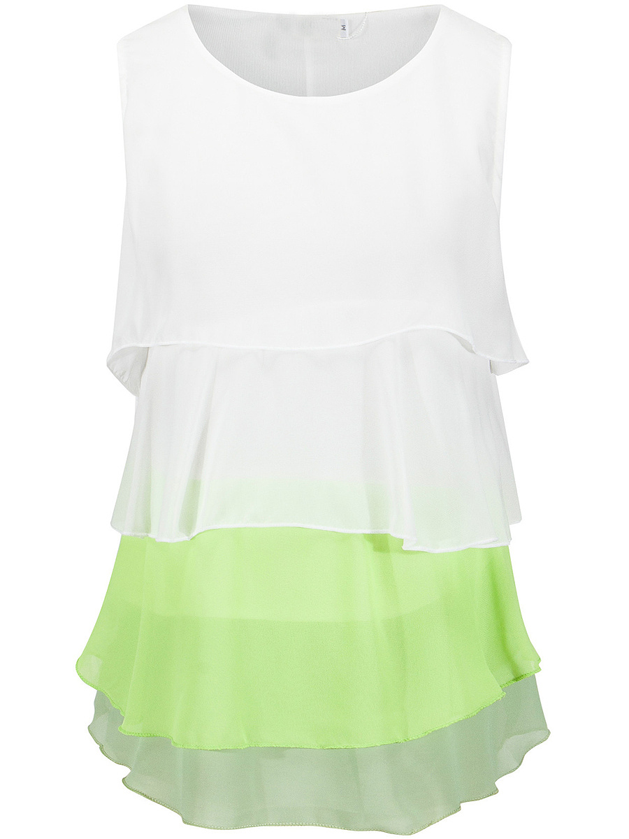 Round Neck Tiered Color Block Sleeveless T-Shirt
