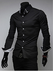 Contrast Trim Buttun Down Collar Men Shirts