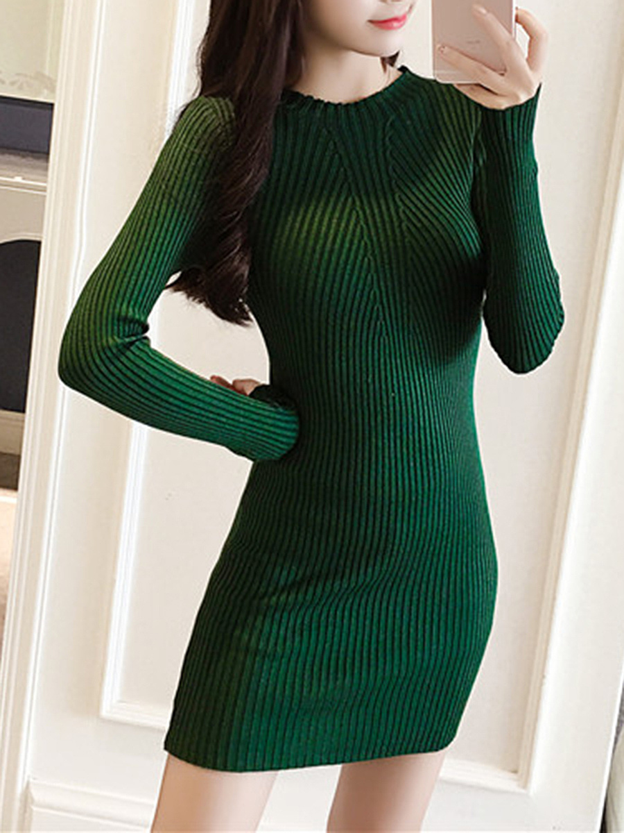 Band Collar  Plain  Cotton Knitted Dress