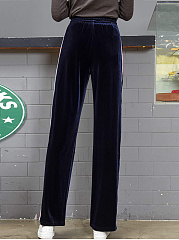 Striped Velvet Elastic Waist Straight Casual Pants
