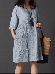 Round Neck Pocket Embossed Plain Shift Dress