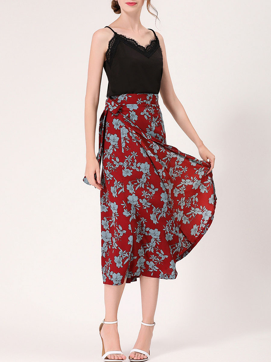 Fabulous Floral Printed Flared Maxi Skirt