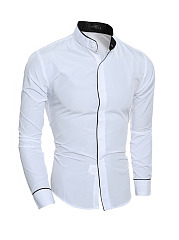 Band Collar  Single Breasted  Plain  Long Sleeve Long Sleeves