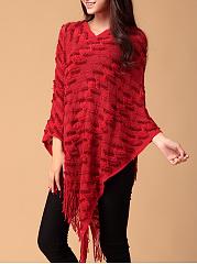 V-Neck-Fringe-Zigzag-Striped-Cape-Sleeve-Sweater