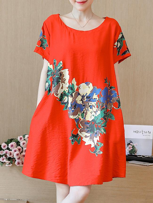 Image of Fashionmia Casual Midi Round Neck Printed Shift Dress