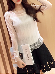 Autumn Spring  Acrylic Cotton  Women  Round Neck  See-Through  Plain  Long Sleeve Blouses