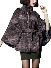 High Neck Double Breasted Belt Woolen Cape
