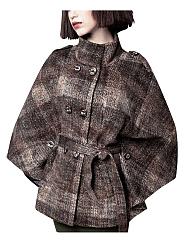 High-Neck-Double-Breasted-Belt-Woolen-Cape