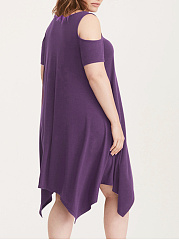 Square Neck  Asymmetric Hem  Plain Plus Size Midi & Maxi Dress