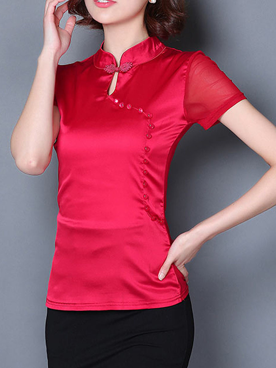 Fitted Band Collar Keyhole Plain Blouse