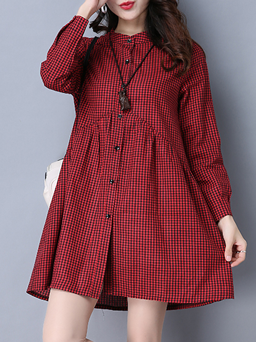 Band Collar Plaid Empire Skater Dress