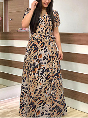 V-Neck  Belt Fashion Printed Maxi Dress